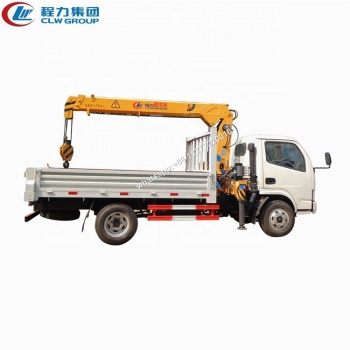 Light duty Dongfeng 4x2 RHD 3.2 tons 2 section telescopic boom crane truck for sale