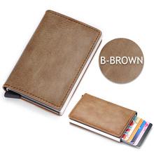 DIENQI Rfid держатель для карт, мужские бумажники, кошелек, Мужской винтажный черный короткий кошелек, 2020 маленький тонкий кожаный мини-кошелек(Китай)