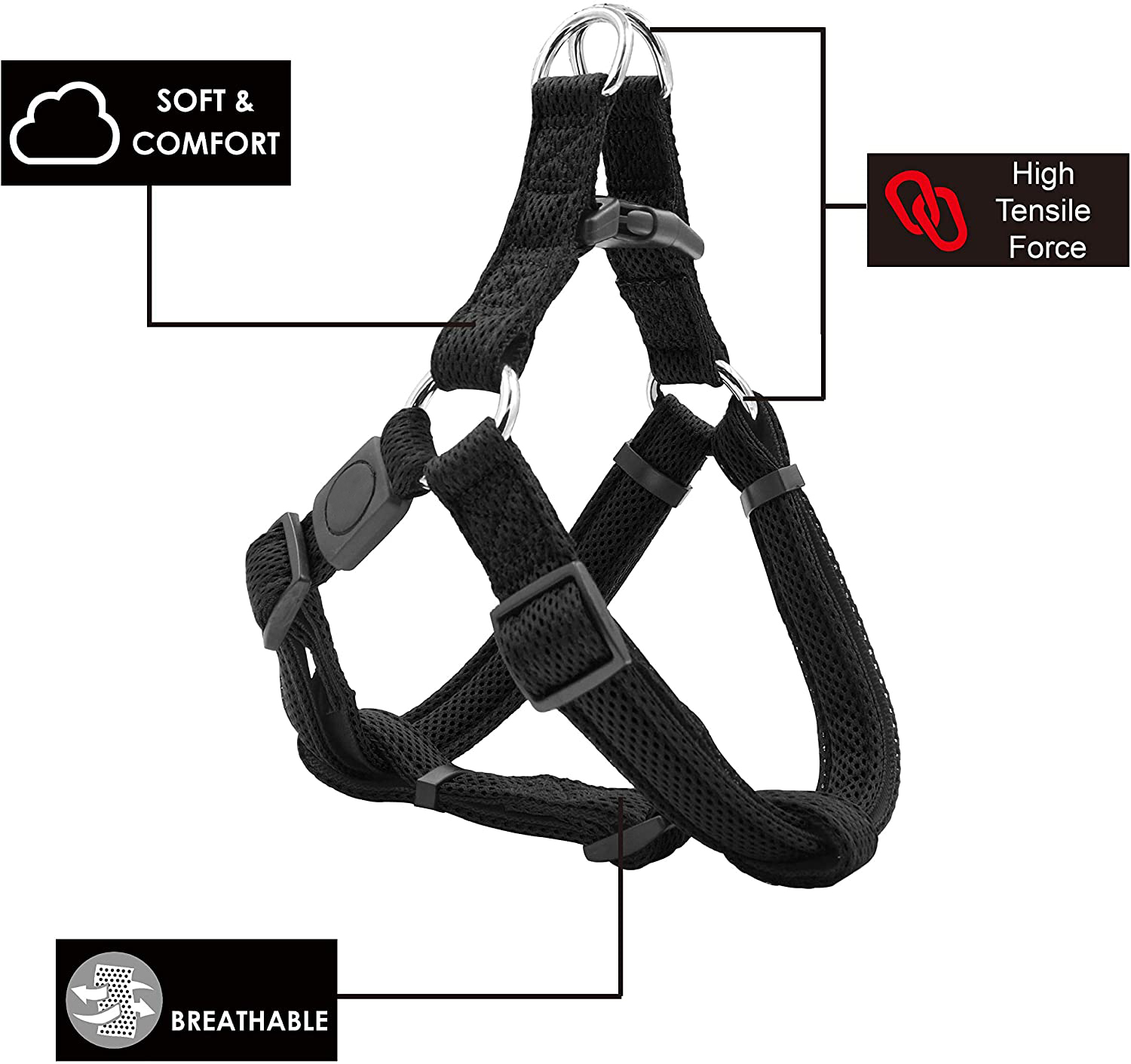 2020 New Design Comfortable Soft Mesh Fabric No-Pull Ajustable Breathable Outside Walking Dog Harness