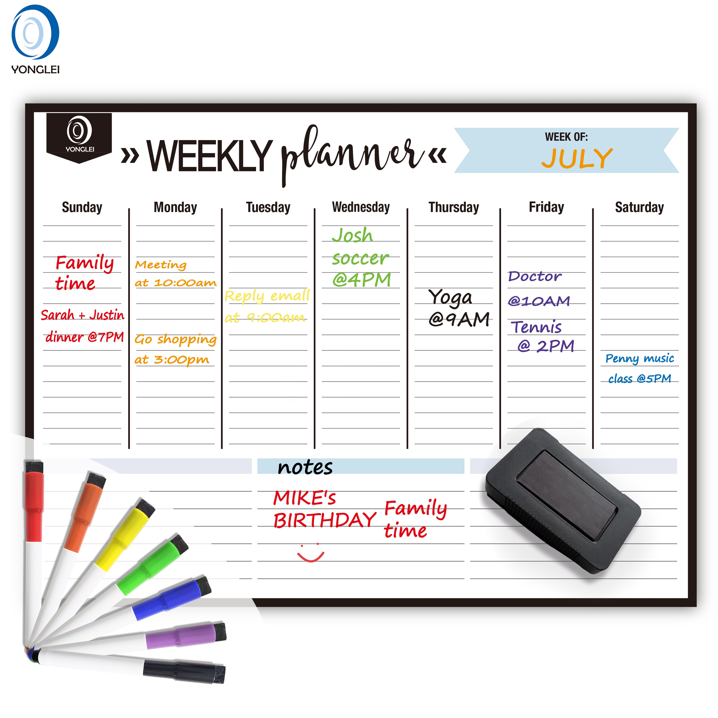 4.1-5 Kühlschrankmagnet Kalender Magnetic Dry Erase Write and Wipe Message Board