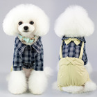 Dog Plaid Jumpsuit With Bow Gentle Overalls Formal Puppy Outfits Costume Western Four Legs Pet Cats Clothes