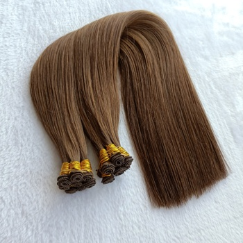 Natural Hair Extensions Real Double Drawn Hand Tied Weft Remy Hand Tied Hair Extensions Free Samples are Given out