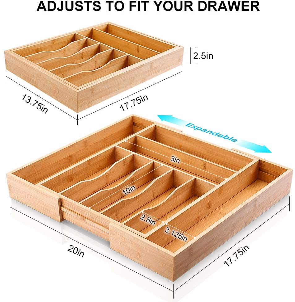 Hot Selling Tableware Expandable Bamboo Utensils Cutlery Drawer Organizer Storage Tray with  Drawer Divider
