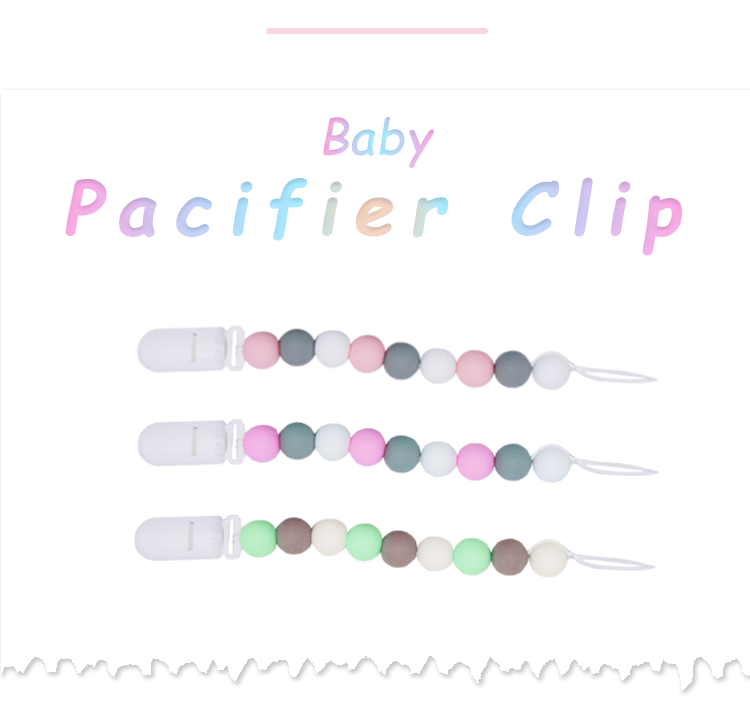 Cute safety baby pacifier beaded  silicone bead pacifier clip bead pacifier clip