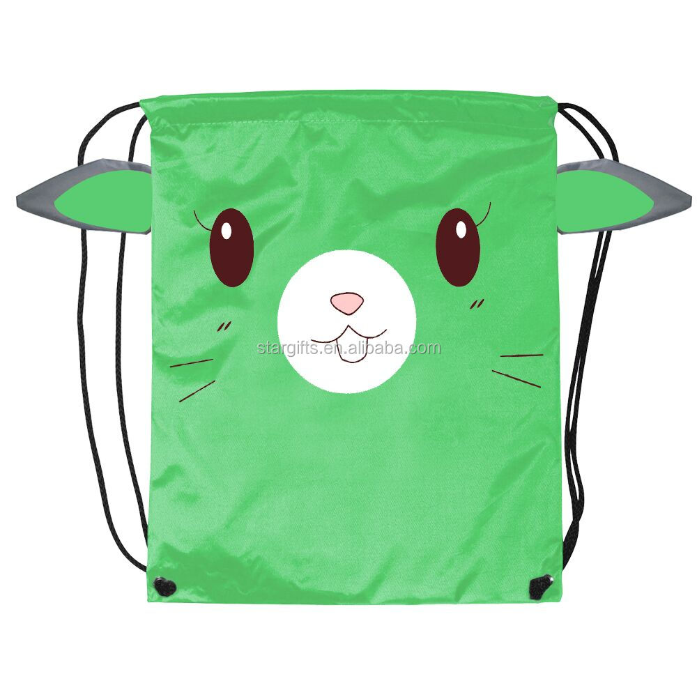 Reusable Recyclable Fashion Logo Printed Promotion Drawstring Polyester Backpack For Kids