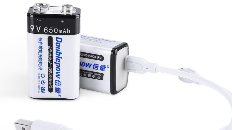 Batería recargable de litio de iones de litio de 9v 650mAh USB personalizada para multímetro e instrumento electrónico