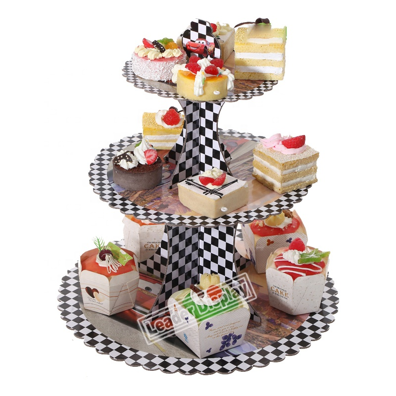 Customized wholesale cylinder wedding dress 3 tier paper cake cupcake pop stand