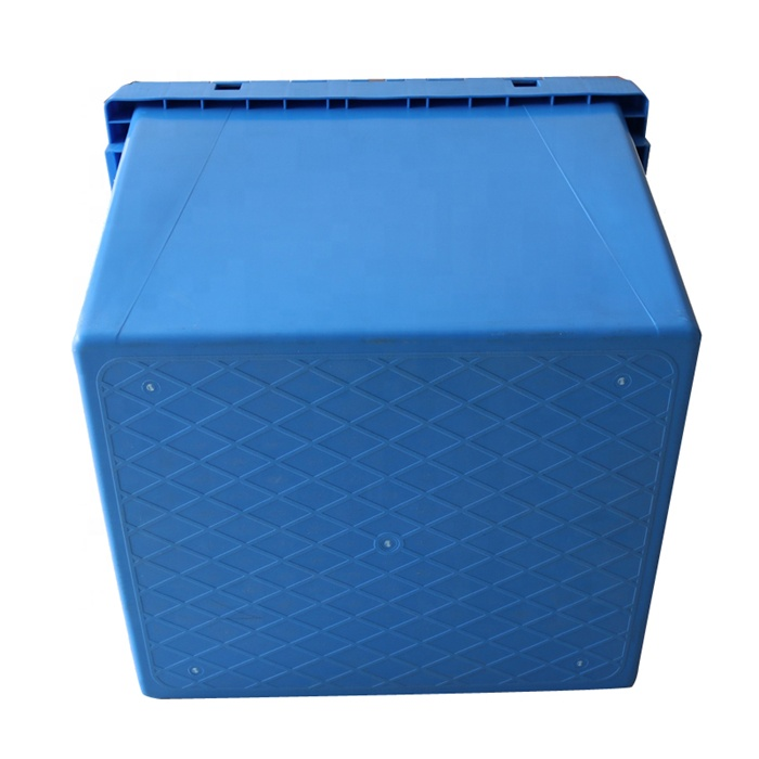 Heavy Duty Eco-friendly Hinged Lid Big Volume Industrial Moving Nestable Crate Attached Lid Plastic Crates Custom Logo