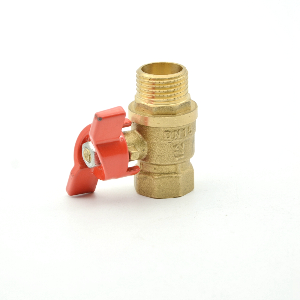 hot sale alloy red male thread brass plastic valve  handle ball valve