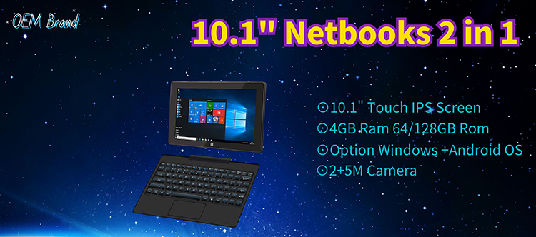 2020 New Factory 10.1 inches Touch screen Laptop computers 2 in 1 with 4GB Ram 64 / 128GB Rom