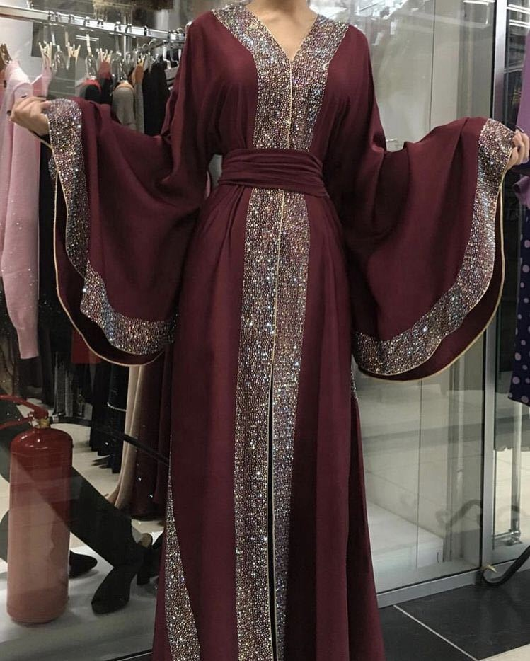 Fashion dubai abaya shining stone work butterfly sleeve maxi muslim women dress open abaya
