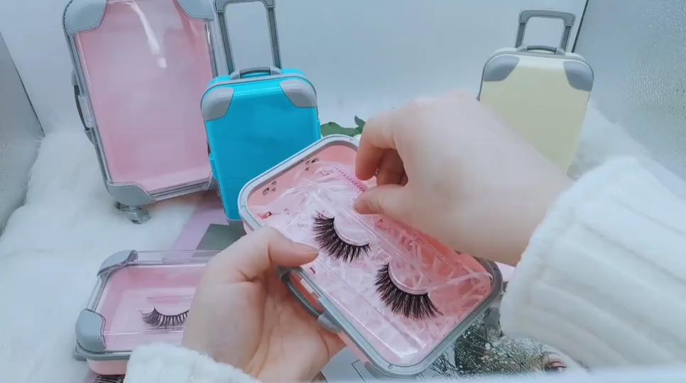 Großhandel heißer verkauf luxus mini koffer gepäck wimpern verpackung 3d nerz lash boxen