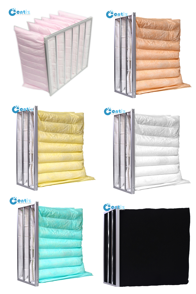 Centiz Factory Good Price Industrial Activated Carbon Dust Black 6P 6B Bag Pocket Clean Room Air Filter 592x592x400mm