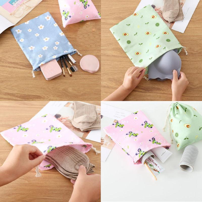 product-GF bags-Eco Polyester Cotton Shopping Bag Avocado Flowers Drawstring Shopping Bags Cute Groc-1