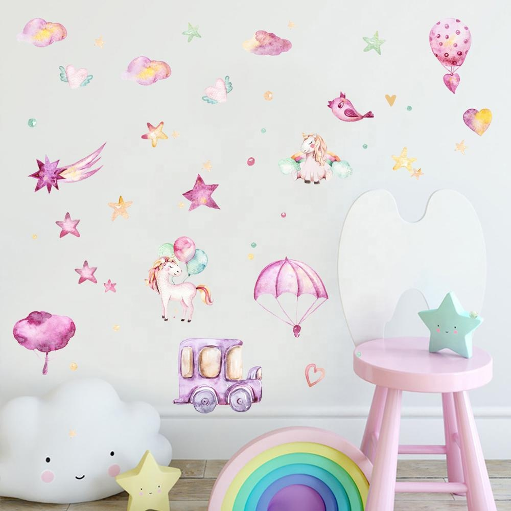 Kartun Pohon Dinding Decals Nordic INS Kamar Anak-anak Tk Removable Wall Stiker