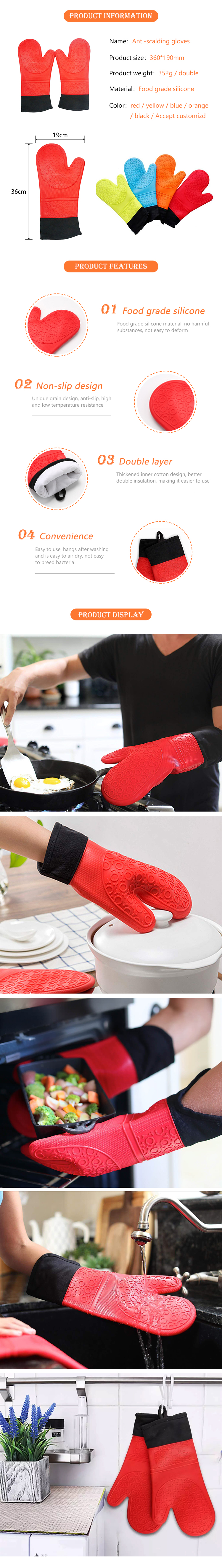 Heat Resistant 550 degree Professional Extra Long 1 Pair Silicone Cooking Oven Mitts