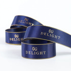 Custom Logo Printed Polyester Satin Ribbon With Gold Edge