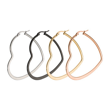 personality 40mm 50mm 60mm big size silver gold black rose gold plated stainless steel heart hoop earrings women