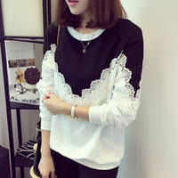 New ladies t-shirt long sleeve spring/autumn tops loose plus size lace casual fashion woman blouse