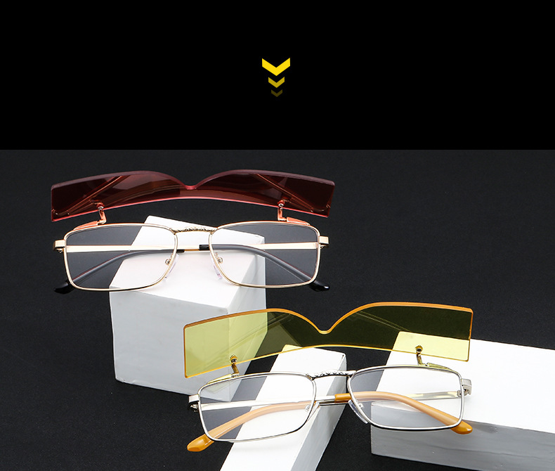 Retro Metal Rimless Overturned Shade Men Women Square Clip On Sunglasses