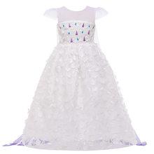 Новинка 2020 года; Платье Эльзы для девочек «Холодное сердце 2»; Вечерние платья принцессы Эльзы на Рождество, Хэллоуин, День рождения; Белое п...(China)