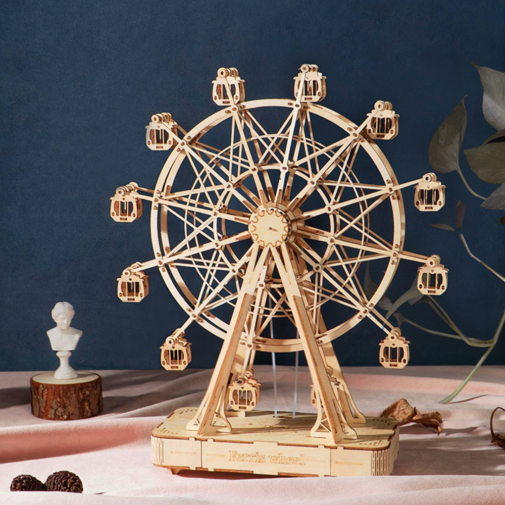 Robotime 3D DIY Wood Crafts Assembly Model Educational Toy Ferris Wheel 3D  Jigsaw Wooden Puzzle