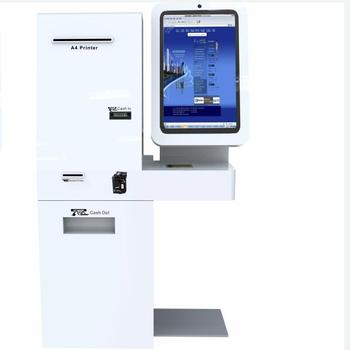 Cash acceptor and dispenser payment KIOSK with big size touch screen and A4 laser printer