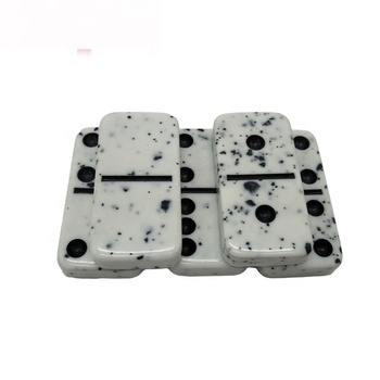 Double six Black Marble Effect domino