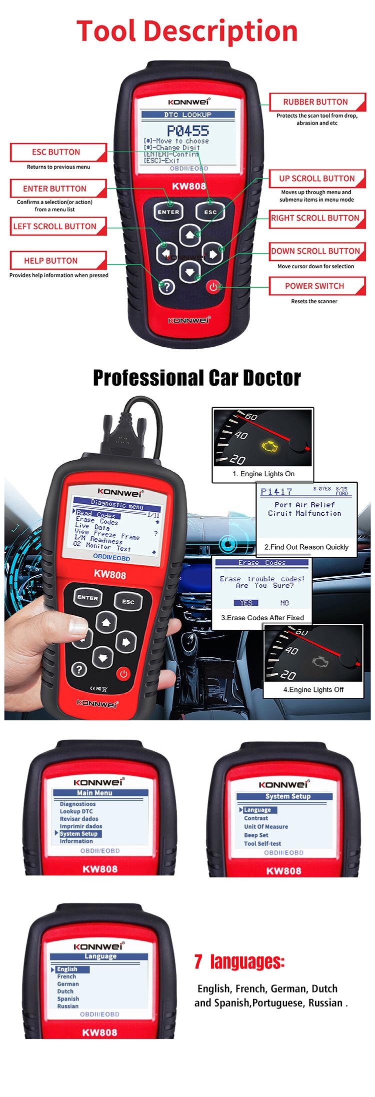 Promotion! Le plus fiable et le plus précis voiture clé outil de diagnostic konnwei kw808 voiture lire et données d'arrêt sur image
