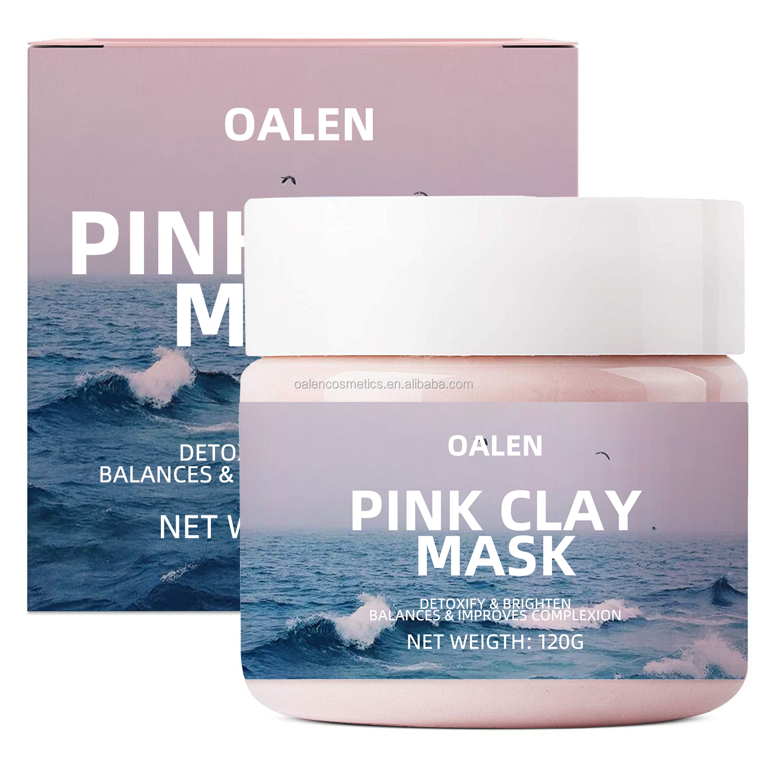 Organic Exfoliating Facial Clay Mask Pore Refining Bentonite Natural Pink Clay Mask