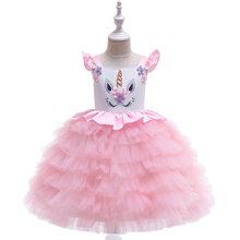 2020 Платья с цветочным принтом для девочек с единорогом Пасхальный костюм Эльзы платье принцессы детская одежда для маленьких девочек вечер...(Китай)