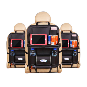 SN-Y-014 Leather Baby Car Back Seat Organizer for Kids with Tray