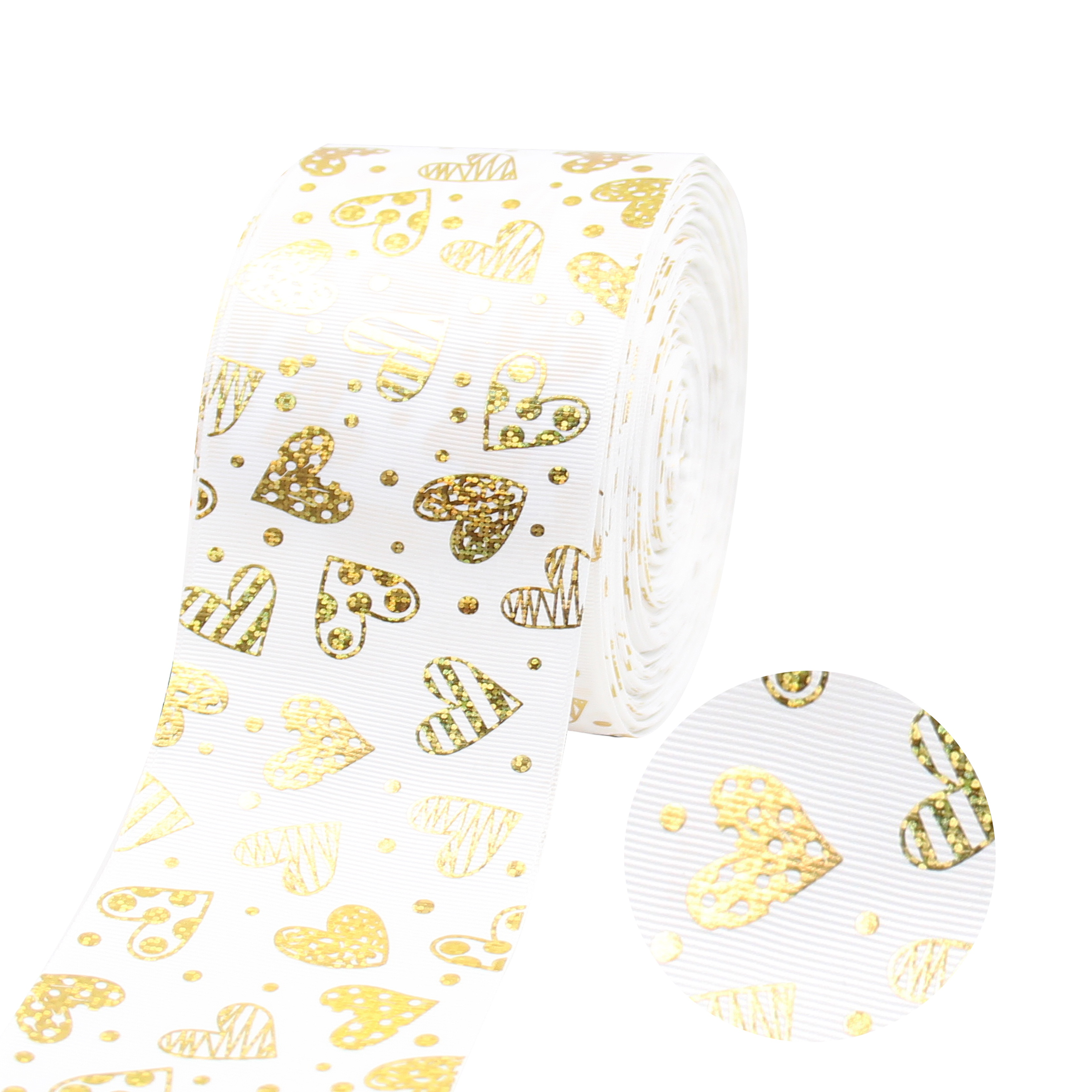 New Style Fashion 75mm Wide heart foil gold Grosgrain Ribbon Glitter Printed