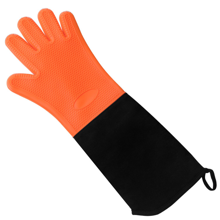 Heat Resistant Long BBQ Silicone Oven Mitts  Grill Gloves With Internal Cotton Lining For Kitchen