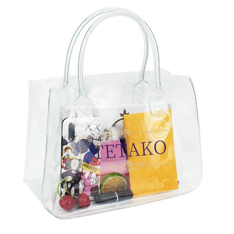 Custom Fashion Waterproof Clear Shopping Tote Bag Transparent Pvc Bags Women Handbags