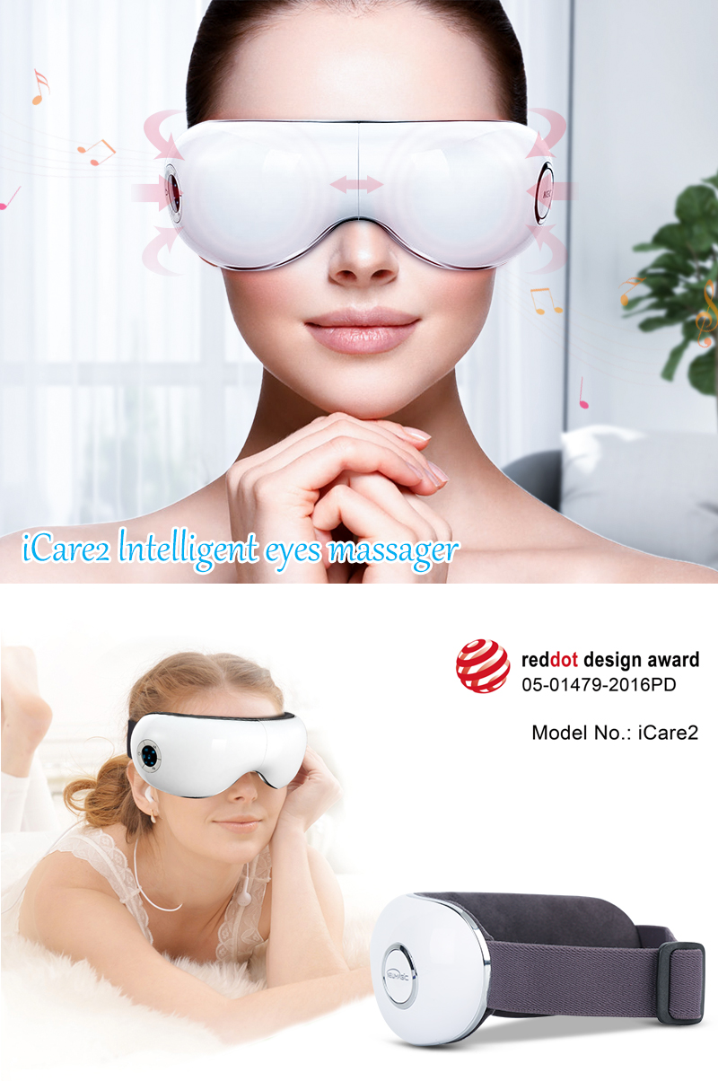 Intelligent Vibration electric eye massager with warm and music