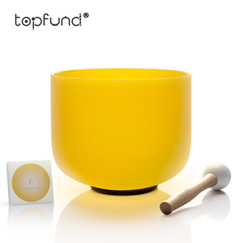 TOPFUND E Note Solar Plexus Chakra Yellow Colored Frosted Quartz Crystal Singing Bowl 8 inch