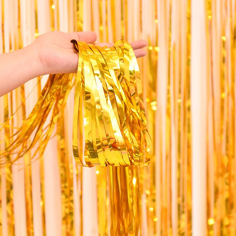 2M Rain Silk Tassel Children Birthday Party Decoration Background Wall Wedding Rose Red Gold Foil Curtain Tassel