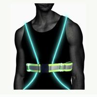 Flashing led light fiber reflective safety running vest for night sport