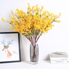 Decorative Flowers Wreaths Yellow Luyue Yellow Jasminum Nudiflorum Lindl Artificial Flowers with Green Leaf Table Home Wedding Decor Silk