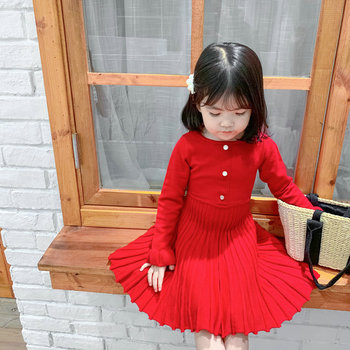 Red Princess Dresses Fall Children Clothes Knitting Warm Dress For Children Autumn Baby Girl Solid Color Dresses