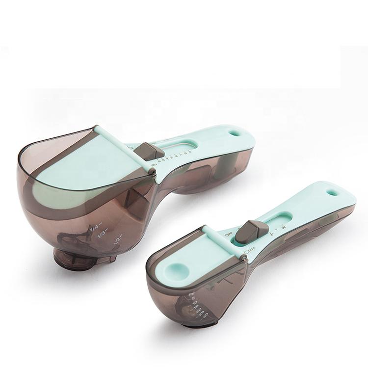 अमेज़न गर्म बिक्री प्लास्टिक मापने कप और चम्मच सेट 2 PCS समायोज्य मापने चम्मच