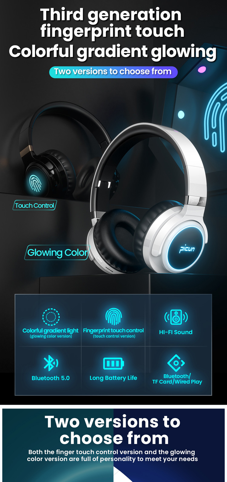 Pieghevole Fascia Hi Fi Glowing LED Luce Cuffie Private Label CE Rohs Microfono Auricolare Bluetooth v5.0 Made in China