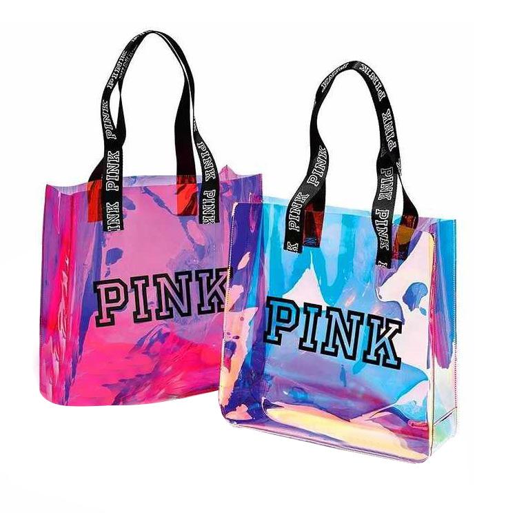 Manufacturers Custom made plastic Material Type Pvc Plastic Pink Shopping Pvc Big Bag