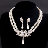 Wholesale crystal women 2pcs/set pearl necklace sets crystal earrings bridal jewelry sets for wedding gift