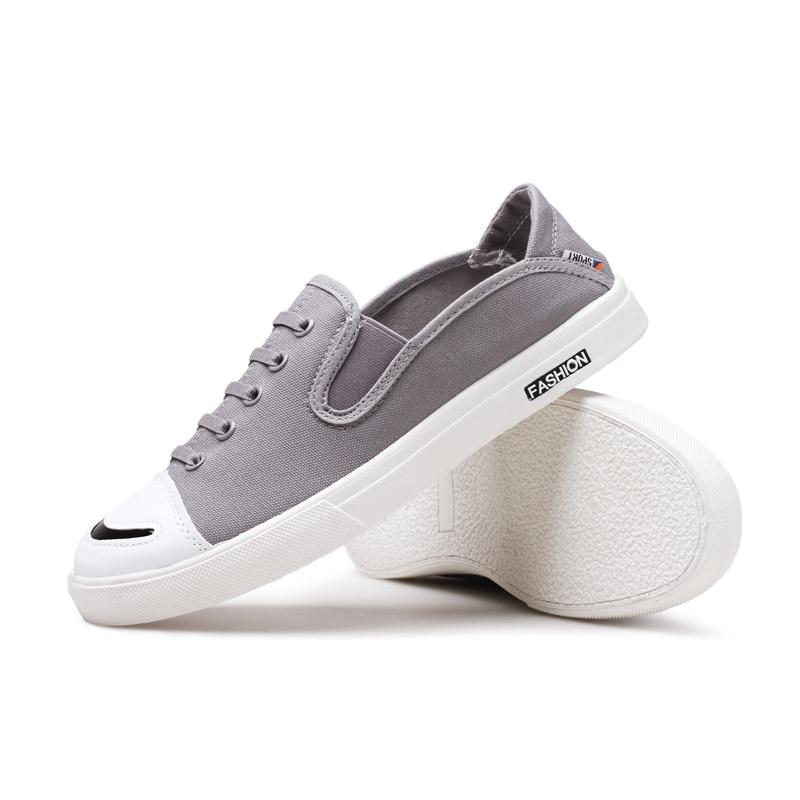Chic Modern Classic Plain Slip-on Flat Low Top Men Canvas Skate Shoes