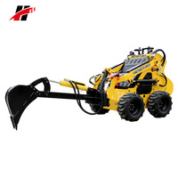 Cheap mini excavator digger machine wheel type mini skid steer loader for sale