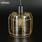 Savia LED E14 3 lamps blown glass modern metal gold cage pendant light doradas suspension rusticas lamparas para casa