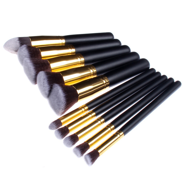 China Manufacturer 10pcs <strong>Makeup</strong> <strong>Brushes</strong> Black And Gold Synthetic <strong>High</strong> <strong>Quality</strong> <strong>Makeup</strong> <strong>Brush</strong> Set Custom Logo