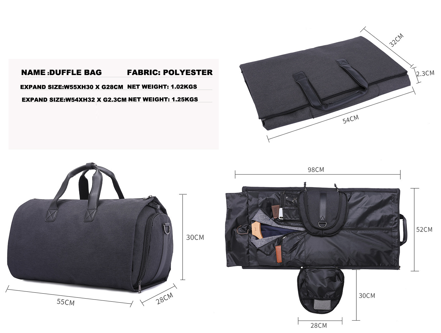 Custom 600D polyester Suit Garment Folding Business Duffle bag Detachable Garment Rolling Shoe Folable Travel Bag